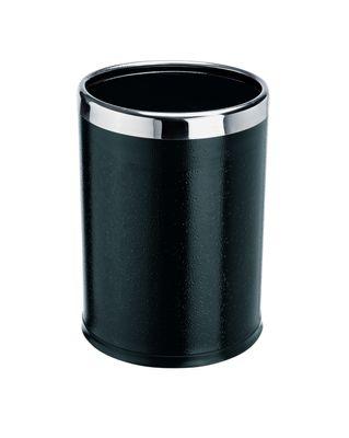 Papierkorb mit Edelstahlring, 2-teilig - feuerfest - schwarz