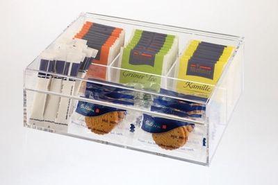 Boîte à thé et infusions APS -plastique- 22 x 17 cm, hauteur : 9 cm