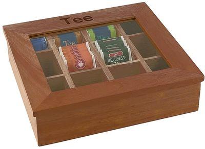 Boîte à thé APS avec 12 compartiments, 31 x 28 cm, hauteur : 9 cm