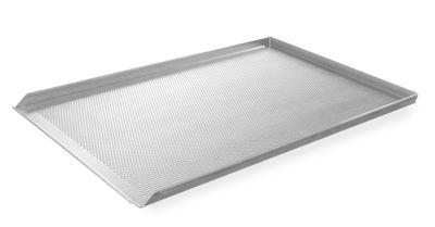 Blech für Heißluftofen, gelocht, 3 seitig aufgekantet, 600x400mm