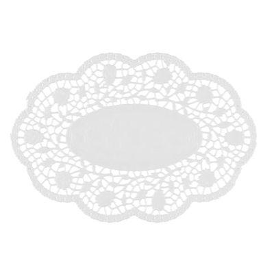 Papstar 500 Mokkadeckchen oval 24 cm x 16,5 cm weiss