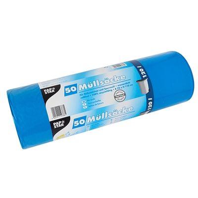 50 sacs poubelle Papstar, PEBD, 120 litres, 110 cm x 70 cm, bleu