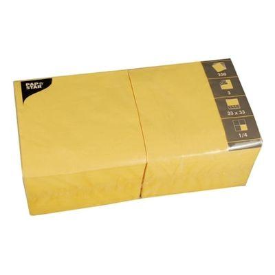 Papstar 250 Servietten, 3-lagig 1/4-Falz 33 cm x 33 cm gelb