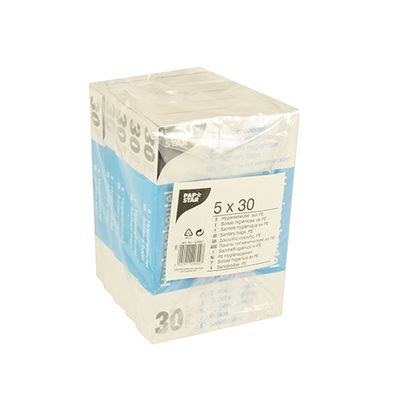 150 sacs hygiéniques Papstar 28,5 cm x 8 cm x 7 cm blancs dans un distributeur