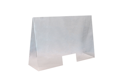 Écran de protection anti-postillons en acrylique 100 x 28cm, H: 65cm, ouverture: 25 x 12cm
