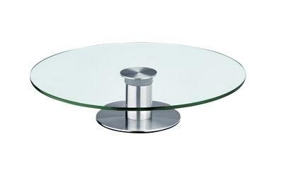 Glas-Tortenplatte 30cm, drehbar, Fuss aus Edelstahl