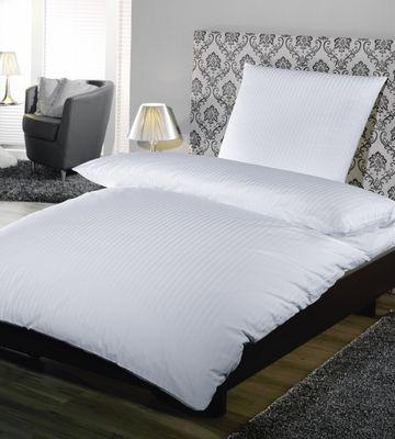 Taie d'oreiller, satin à fines rayures 10 mm - 80 x 80 cm + 20 cm HV