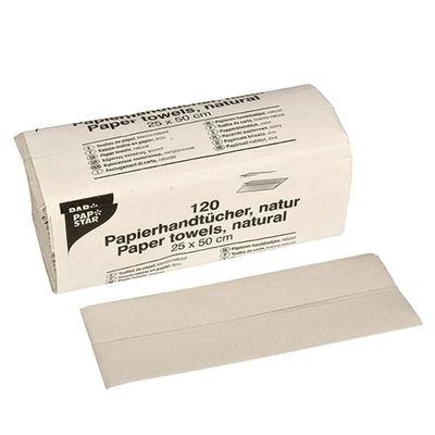 120 serviettes en papier Papstar 50 cm x 25 cm naturel pli en C, 1 couche