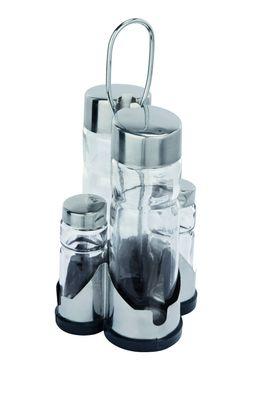 Ménagère 4pièces, vinaigre + huile / salière/poivrière, partie inférieure en plastique