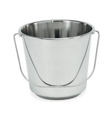 Seau - conception légère en acier chrome-nickel, volume 14 l