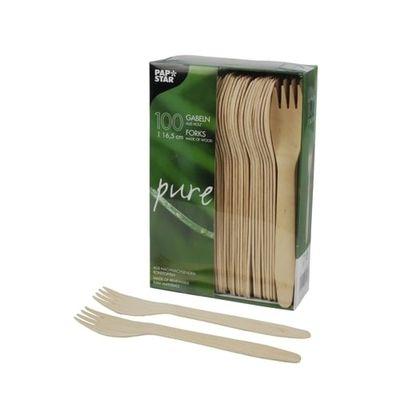 100 fourchettes Papstar, bois «pure» 16,5 cm