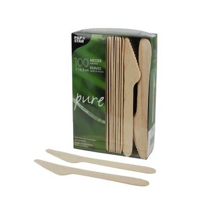 100 couteaux Papstar, bois «pure» 16,5 cm