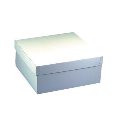 10 boîtes à gâteaux Papstar, avec couvercle, carton carré 30 cm x 30 cm x 13 cm blanc
