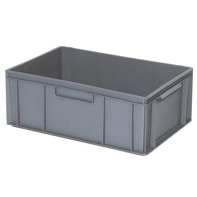 Bac empilable Euro 600x400 mm, 2 bandes de poignée, gris - 220 mm