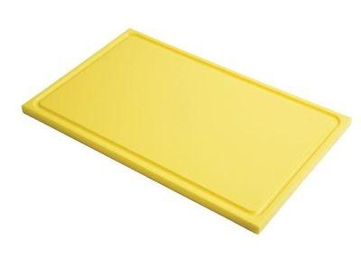 Planche à découper avec rainure de jus Gastro-M GN 1/2 jaune