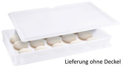 Récipient pour boules de pizza, polyéthylène blanc, 60x40x7,5cm