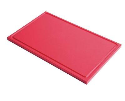 Planche à découper avec rainure de jus Gastro-M GN 1/2 rouge
