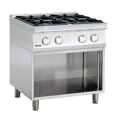 Cuisinière à gaz Bartscher 700 Classic à 4 feux avec soubassement ouvert