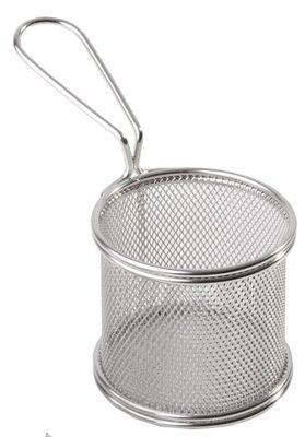 APS Servier-Frittierkorb, silber Ø 9 cm, H: 8,5 cm, Griff 9 cm