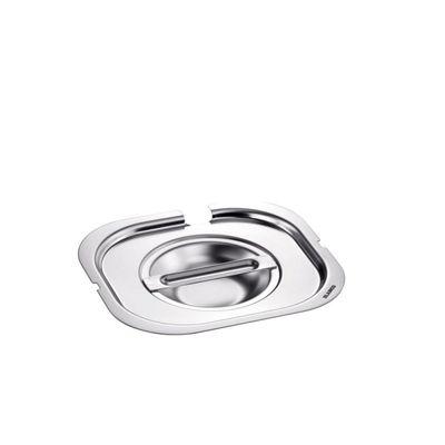 Blanco Edelstahl GN-Deckel GN  1/6 mit Griffmulde und Löffelaussparung für Gastronorm-Behälter mit Bügelgriffen