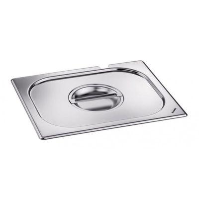 Blanco Edelstahl GN-Deckel GN  1/2 mit Griffmulde und Löffelaussparung für Gastronorm-Behälter mit Bügelgriffen
