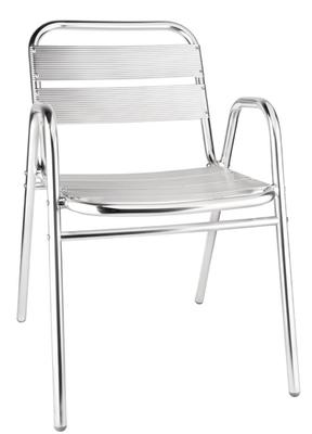 4 chaises de bar Bolero avec accoudoirs, aluminium