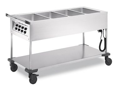 Chariots de distribution de repas Blanco SAW 4, 4x GN 1/1-200, chauffable humide + sec