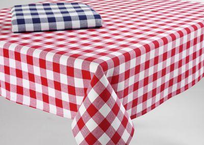 Küchentischdecke, 100 % Baumwolle, rot, Karomuster, 130 x 130 cm