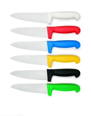 Profi Küchenmesser mit farbigem Griff-HACCP-, Kochmesser weiß, Klinge 25cm
