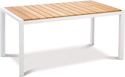 Tisch Paros 160x90cm weiß/Teakholz