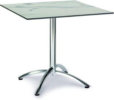Table pliante Firenze 80x80cm carrée argent/marbre