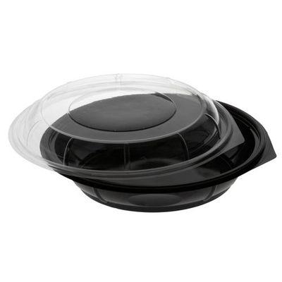 """Papstar 35 Salatschalen, PET 800 ml Ø 22,1 cm x H: 6,2 cm schwarz """"Snap It"""" mit Deckel PET glasklar"""