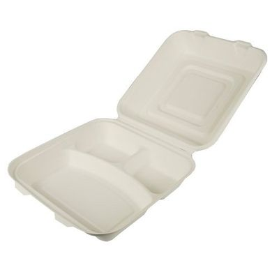 Boîtes repas Papstar Pure, 3 compartiments, canne à sucre - 25 pièces