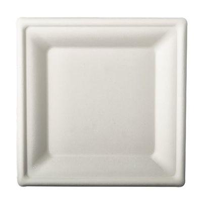 """50 assiettes Papstar, """"pur"""" canne à sucre, carrées, 20 cm x 20 cm blanc"""