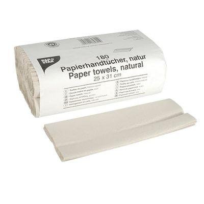 180 serviettes en papier Papstar 31 cm x 25 cm naturel pli en C, 1 couche