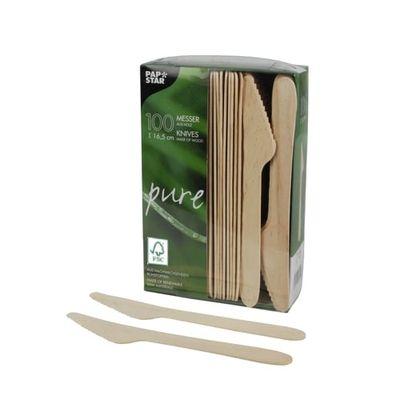Papstar  Pure  Messer; Holz - 100 Stück 16,5 cm