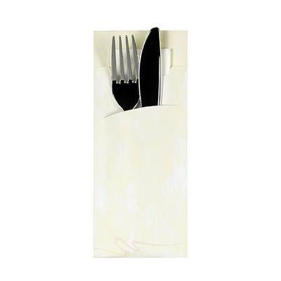 Papstar 520 Bestecktaschen 20 cm x 8,5 cm creme inkl. weißer Serviette 33 x 33 cm 2-lag.