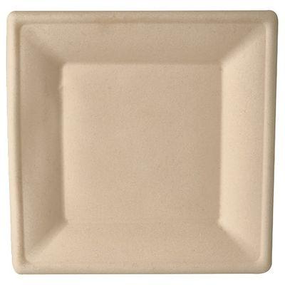 """50 assiettes Papstar, """"pur"""" canne à sucre, carrées, 26 cm x 26 cm, couleur naturelle"""