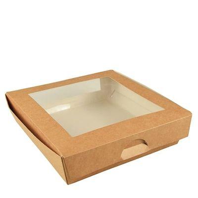 Boîte à sandwichs Papstar Pure avec fenêtre de visualisation ; angulaire ; carton - 25 pièces - 1500 ml