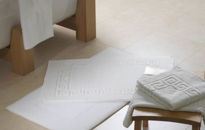 Tapis de bain en éponge retors, 100% coton, 50x70cm, blanc, 700g/m2