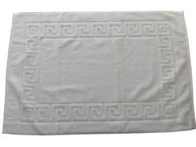 Tapis de bain en éponge retors, 100% coton, 50x70cm, blanc, 500g/m2