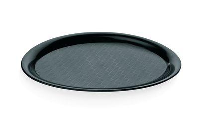 Plateau à café ovale en polypropylène noir, 29,0 cm x 22 cm