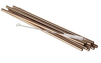 Pailles à boire APS SMALL en acier inoxydable - cuivre, 10 pièces, avec brosse de nettoyage incluse