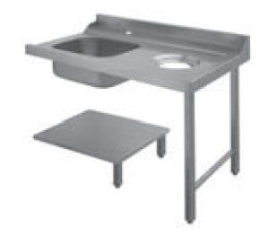 Table d'écoulement Dexion à gauche avec évier et trou de vidange