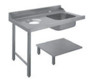 Table d'approvisionnement Dexion droite avec évier et trou de vidange