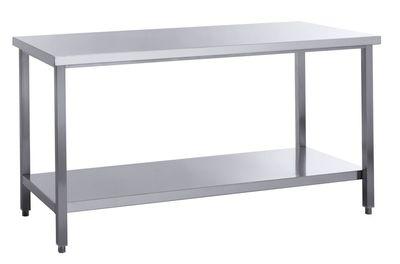 Table de travail Basic 8x7 en inox avec étagère inférieure