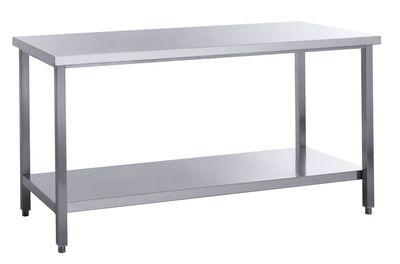 Edelstahl Arbeitstisch Basic 18x7 mit Grundboden