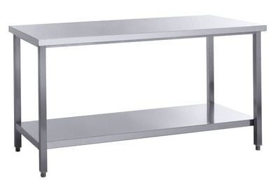 Edelstahl Arbeitstisch Basic 15x7 mit Grundboden