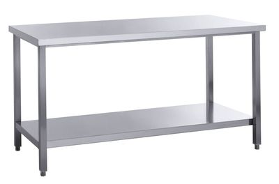 Edelstahl Arbeitstisch Basic 10x7 mit Grundboden