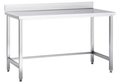 Table de travail en inox Eco 8x6 sans étagère basse, avec dosseret